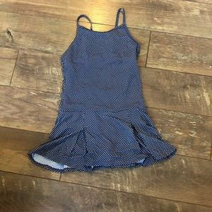 Lands End Blue White Polka Dot Retro 1Pc Swim 12